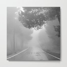To the mountains. BW . Square Metal Print