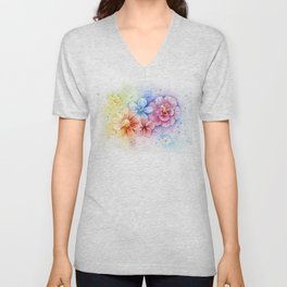 Rainbow Flowers Unisex V-Neck