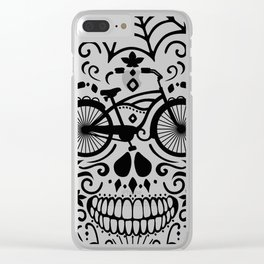 Vintage Mexican Skull with Bicycle - black and white Clear iPhone Case