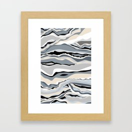 Black and white scandinavian minimal line pattern Framed Art Print
