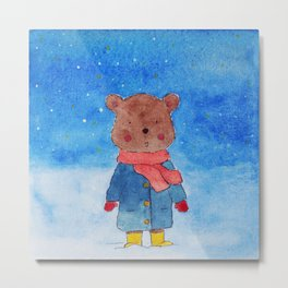 Little Bear in Snow Metal Print