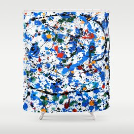 Frenzy in Blue Shower Curtain