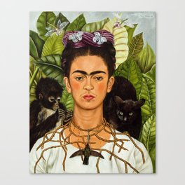 SELF PORTRAIT WITH THORN NECKLACE AND HUMMING BIRD - FRIDA KAHLO Canvas Print