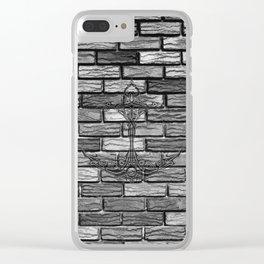 Black Anchor Brickwall Clear iPhone Case