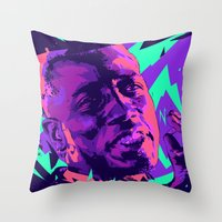 wesley bird Throw Pillows featuring Wesley snipes // Bad actors v2 by mergedvisible