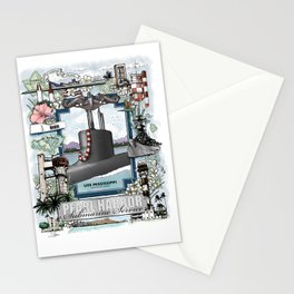 USS Mississippi - Pearl Harbor Submarine Service (silver dolphins) Stationery Cards