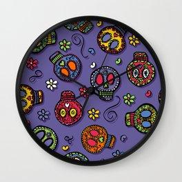 Sugar Skulls (on purple) - calavera, skull,  halloween, illustration Wall Clock