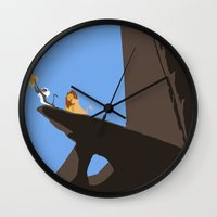 lion king Wall Clocks featuring Lion King by TheWonderlander