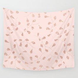 Modern rose gold leaf on blush pink illustration pattern Wall Tapestry