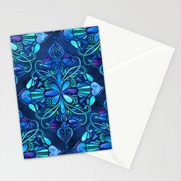 Deep Ocean Art Nouveau Watercolor Doodle Stationery Cards