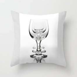Three empty wine glasses in a row Throw Pillow