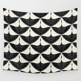 CRANE DESIGN - pattern - Black and White Wall Tapestry