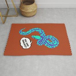 """""""Pls Bring Snacks"""" Bright Pop-Art Snake Illustration Rug"""