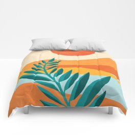 Mountain Sunset / Abstract Landscape Illustration Comforters