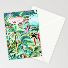 Vacay in Thailand Art Illustration, Palm Tree Island Painting, Tropical Destination Stationery Cards