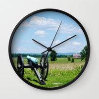 battlefield Wall Clocks featuring Gettysburg Battlefield 3 by Scenic Sights by Tara