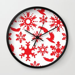 Snowbird Pattern Wall Clock