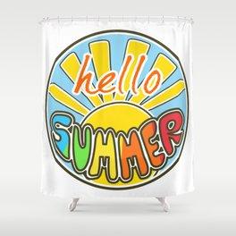 Hello Summer, colorful sticker, Summer sticker, summer t shirt, Shower Curtain