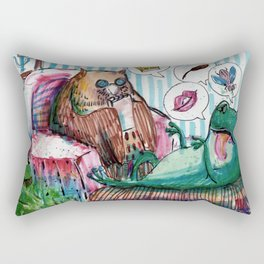 frog and owl in therapy Rectangular Pillow
