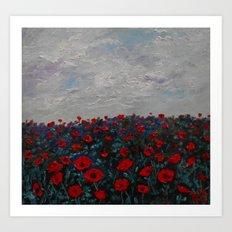 Field of Red Poppy Flowers Art Print