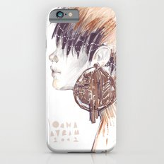 Fashion illustration profile portrait gold black white markers and watercolors Slim Case iPhone 6s