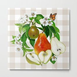 Pears On Plaid Metal Print