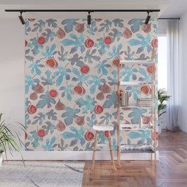 Watercolor Fruit Figs and Leaves Wall Mural