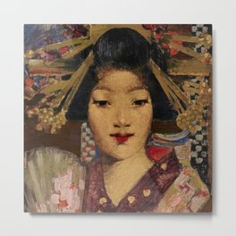 Geisha in kimono with lilies traditional floral portrait painting by George Henry Metal Print