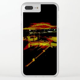 Don't stop. It's a sign. Stop street in the dark Clear iPhone Case