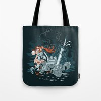 cyberpunk Tote Bags featuring Cyberpunk Beat Down by Dooomcat