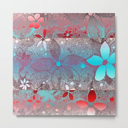 Flowers In Lace Red Blue Metal Print