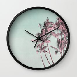 Tropical Palm Trees In Surreal Pink Wall Clock
