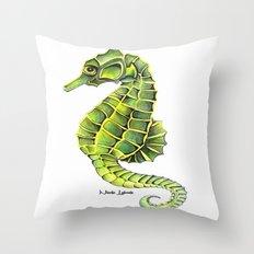 Sea Horse Green Yellow Sea Life Ocean Underwater Creature Throw Pillow