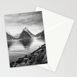 Milford Sound Panorama in black and white Stationery Cards
