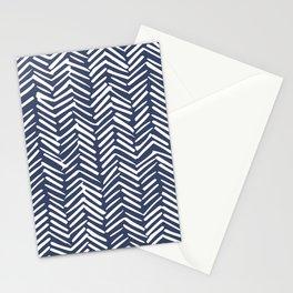 Boho Herringbone Pattern, Navy Blue and White Stationery Cards