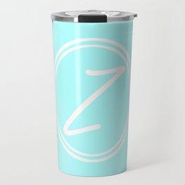 Monogram - Letter Z on Celeste Cyan Background Travel Mug