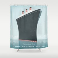 travel poster Shower Curtains featuring Vintage Travel Poster - Cruise Ship by Travel Poster Co.