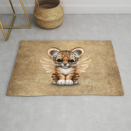 Cute Baby Tiger Cub with Fairy Wings  Rug