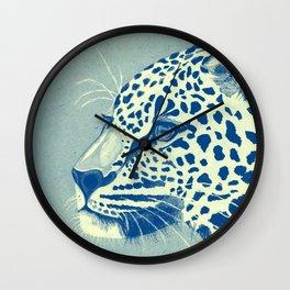 Leopard Turquoise feline glance Wall Clock