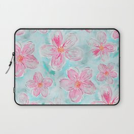 Hand painted teal fuchsia watercolor floral Laptop Sleeve