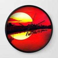 duvet cover Wall Clocks featuring Sunset duvet cover by customgift