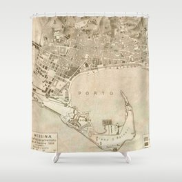Vintage Map Of Messina Italy 1900 Shower Curtain