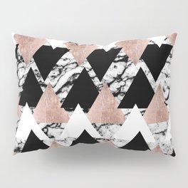 Modern Black White Rose Gold Triangles on Marble Pillow Sham