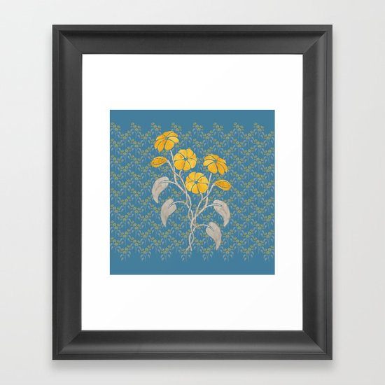 Flowers Blue Pattern Framed Art Print