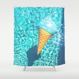 blue ice cream cone float all up in my pool yo Shower Curtain
