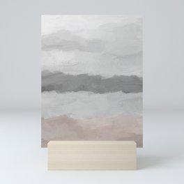 Cloudy Coastal Gray Stormy Beige Sandy Beach Ocean Abstract Nature Painting Art Print Wall Decor  Mini Art Print
