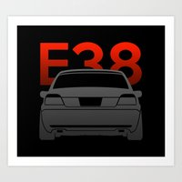 bmw Art Prints featuring BMW E38 by Vehicle