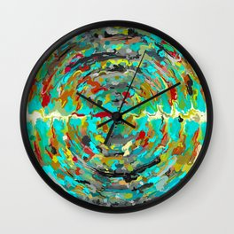 psychedelic circle pattern painting abstract background in green blue yellow brown Wall Clock