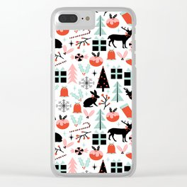 Christmas ornaments minimal holly reindeer candy cane christmas tree pattern print Clear iPhone Case