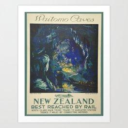 Vintage poster - Waitomo Caves Art Print